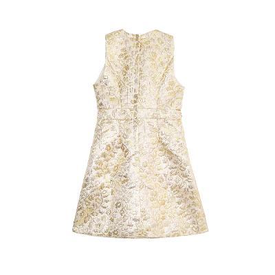 jacquard beads dress gold