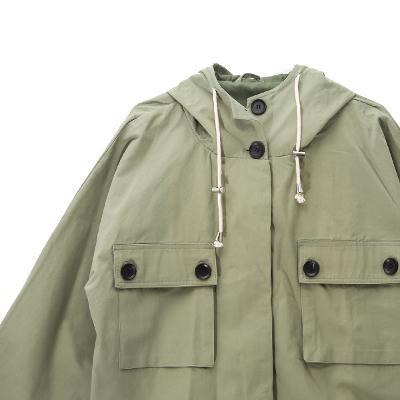 french sleeve hoodie jacket khaki