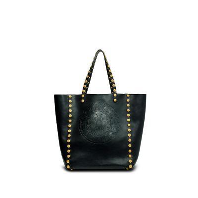 stud shopper bag black