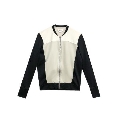 black & white zip-up blouson