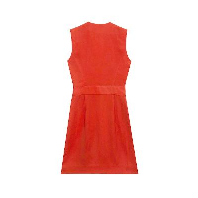 wrap style dress red