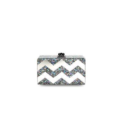 box clutch silver