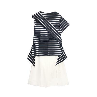 [66]Goen J - unbalance stripe blouse_L' vir - pleats skirt