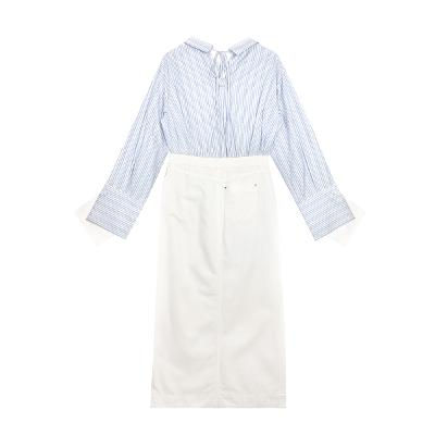 Aeer - layered sleeve stripe shirt_Topshop - white denim slit long skirt