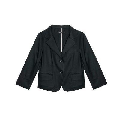 linen basic short jacket black
