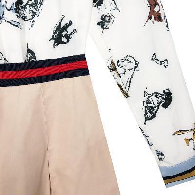 El estilo de Claire – puppy graphic shirt_stripe point skirt