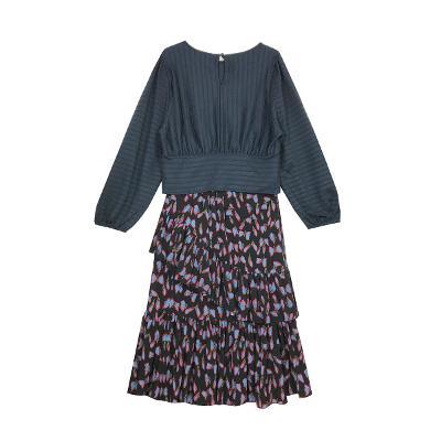 El estilo de Claire - vertical texture blouse_printing side ruffle skirt