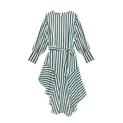 stripe unbalance dress green