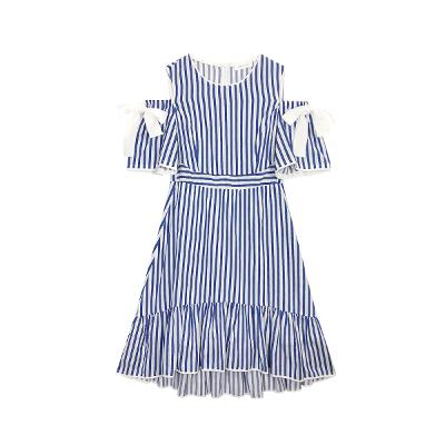 stripe ribbon knot dress blue