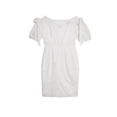 cotton puff dress white