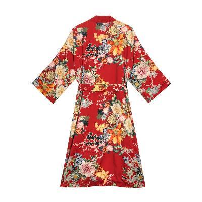 flower kimono robe red