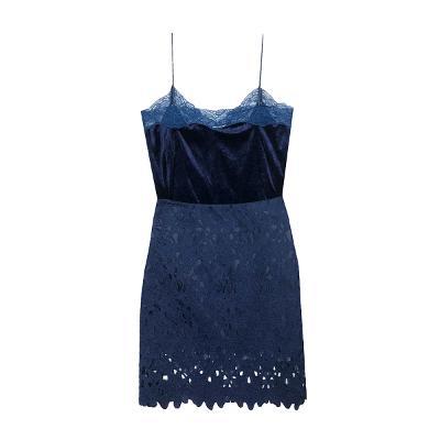 El estilo de Claire - velvet slip top_punchig lace skirt blue
