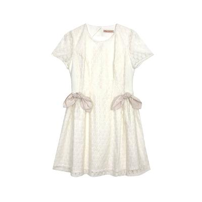 ribbon knot romantic dress ivory
