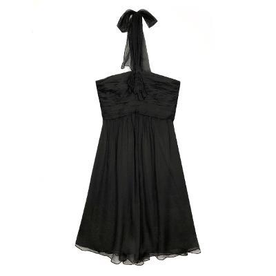 halter neck shirring dress charcoal