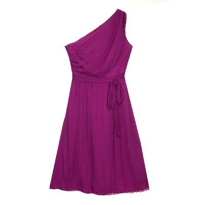 one shoulder midi dress violet
