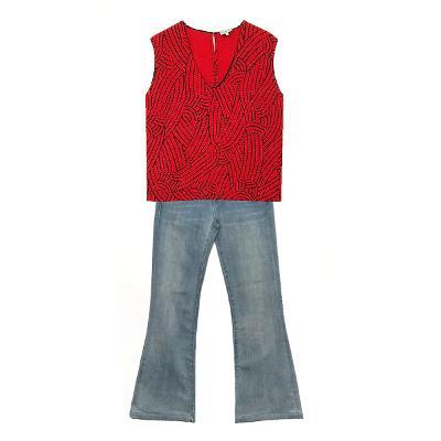 Bimba Y Lola - geometric sleeveless red & J Brand - spandex denim pants skyblue
