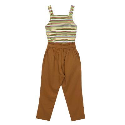 Camino Street - square neck stripe sleeveless green & linen banding pants brown 3
