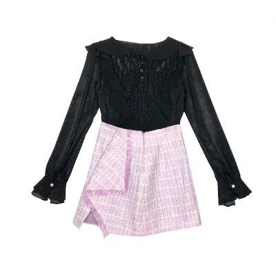 Capricieux - front ruffle blouse black & tweed fringe skirt lavender
