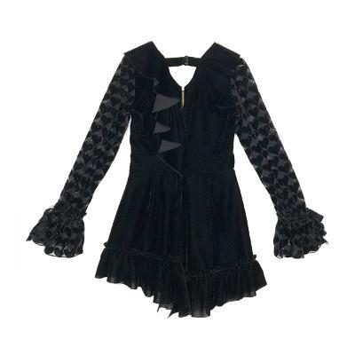 heart pattern velvet dress black