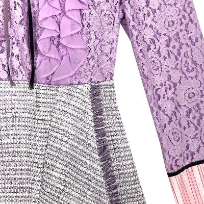 Capricieux - lace fril blouse lavender & tweed fringe skirt purple