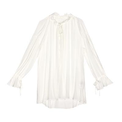 shirring boxy fit dress white