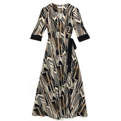 half sleeve wrap dress brown&black