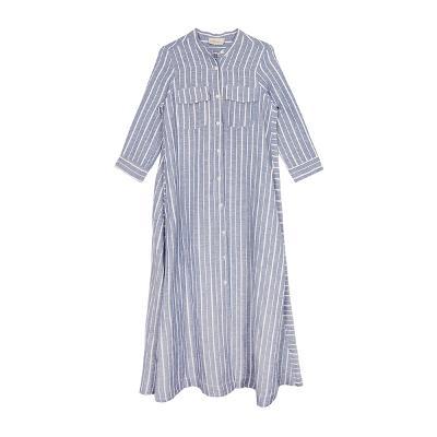 stripe long shirt dress skyblue