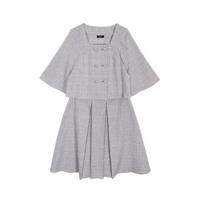 Clopitz - square neck check blouse & a line check skirt