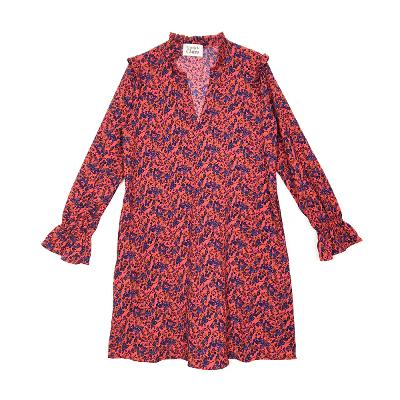 floral frill dress red