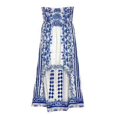 off shoulder tube top long dress blue
