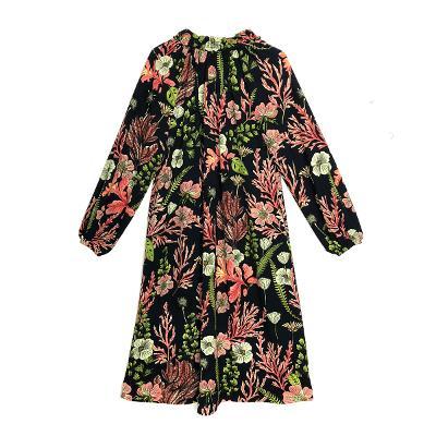 shirring floral dress