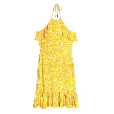 floral print halter neck dress yellow