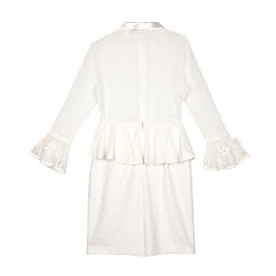 Swing by NABI - frill sleeve lace blouse white & peplum frill skirt white