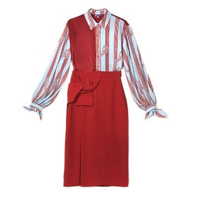 Swing by NABI - knot pattern blouse skyblue & Mango - ribbon knot skit red