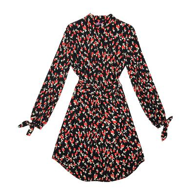 rose printing unbalance shirt dress
