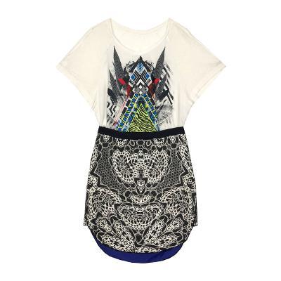 System - printing tee white & geometric skirt