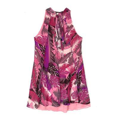halter neck tropical pattern dress pink