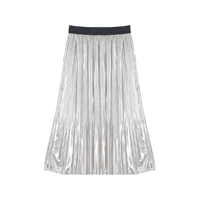 pleats skirt silver