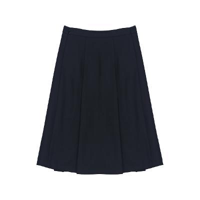 wool gored skirt black