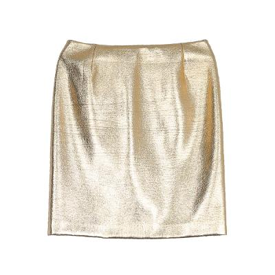 back slit shining skirt gold