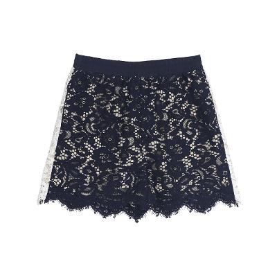 side pointe lace mini skirt