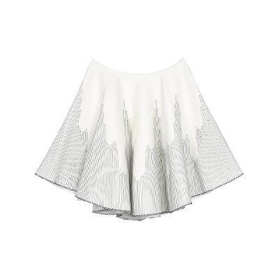 stitch detail flare skirt white