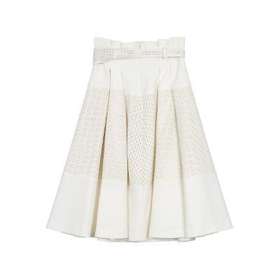 dot punching pleats skirt ivory