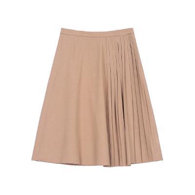 unbalance pleats detail skirt brown