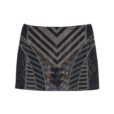 chevron pointed beads mini skirt