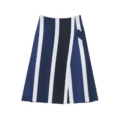 unbalance pocket stripe wrap skirt