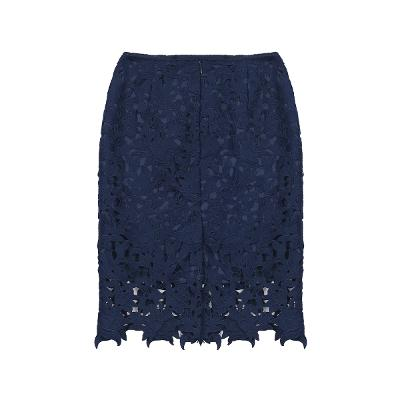 flower lace tight skirt navy