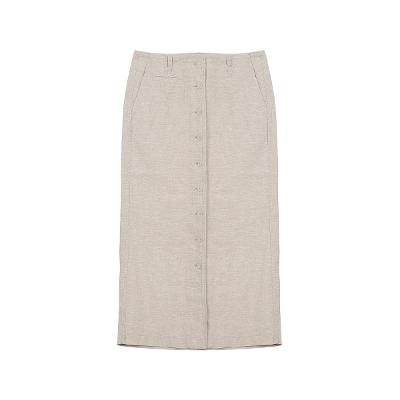 front button point skirt beige
