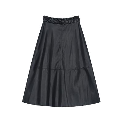 front button flare leather skirt