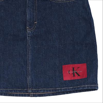 logo patched denim mini skirt